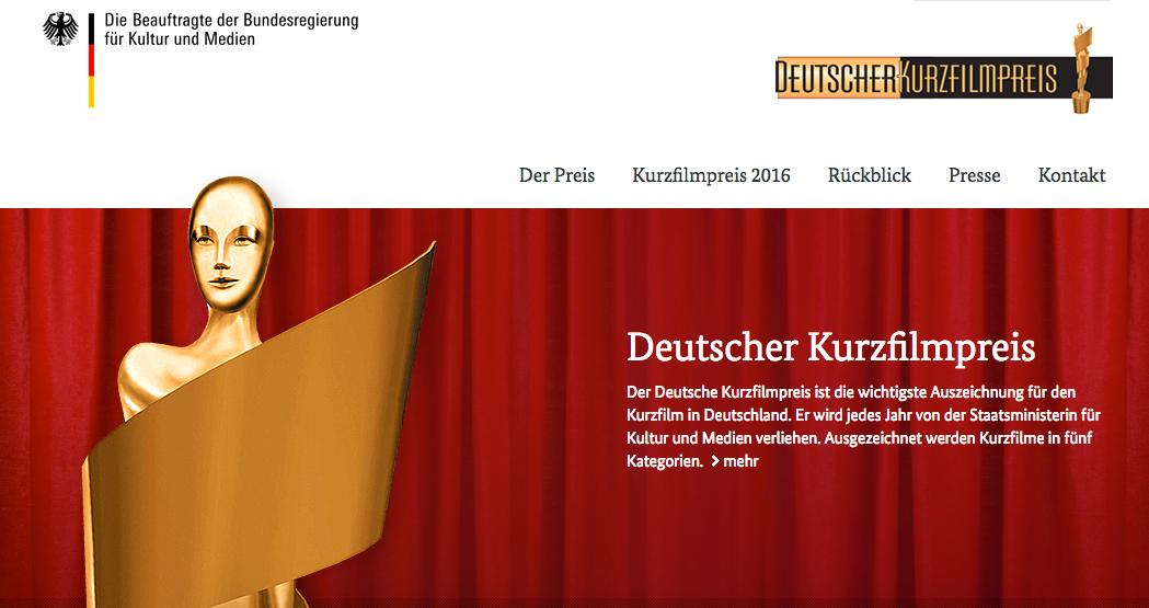 Nominierungen für den Deutschen Kurzfilmpreis 2016