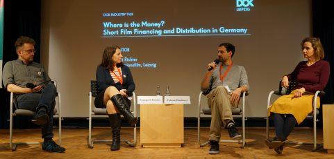 Podium zum Thema KURZFILMFINANZIERUNG UND AUSWERTUNG von Animation in Deutschland